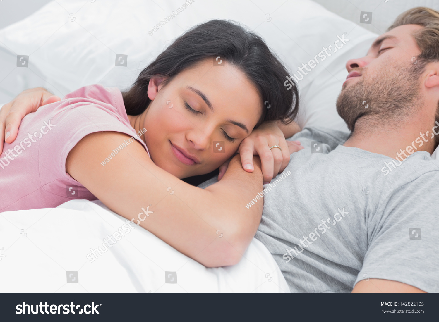 Man Laying In Bed Caring Lovers Sleeping Lying On The Bed