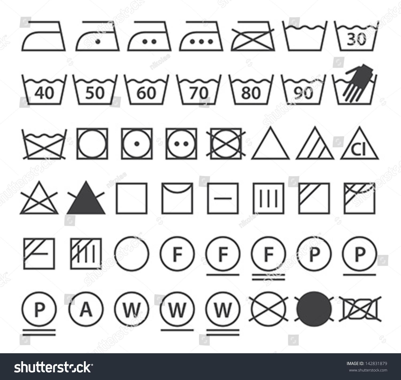 Set Washing Symbols Laundry Icons Isolated Stock Vector 142831879 ...
