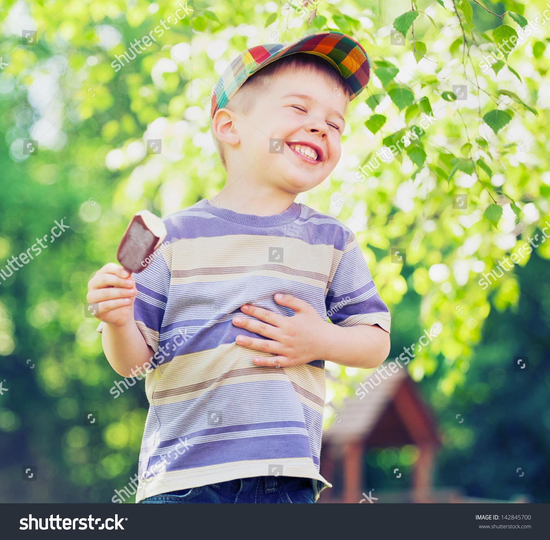 Kid Eating Vanilla Ice Cream