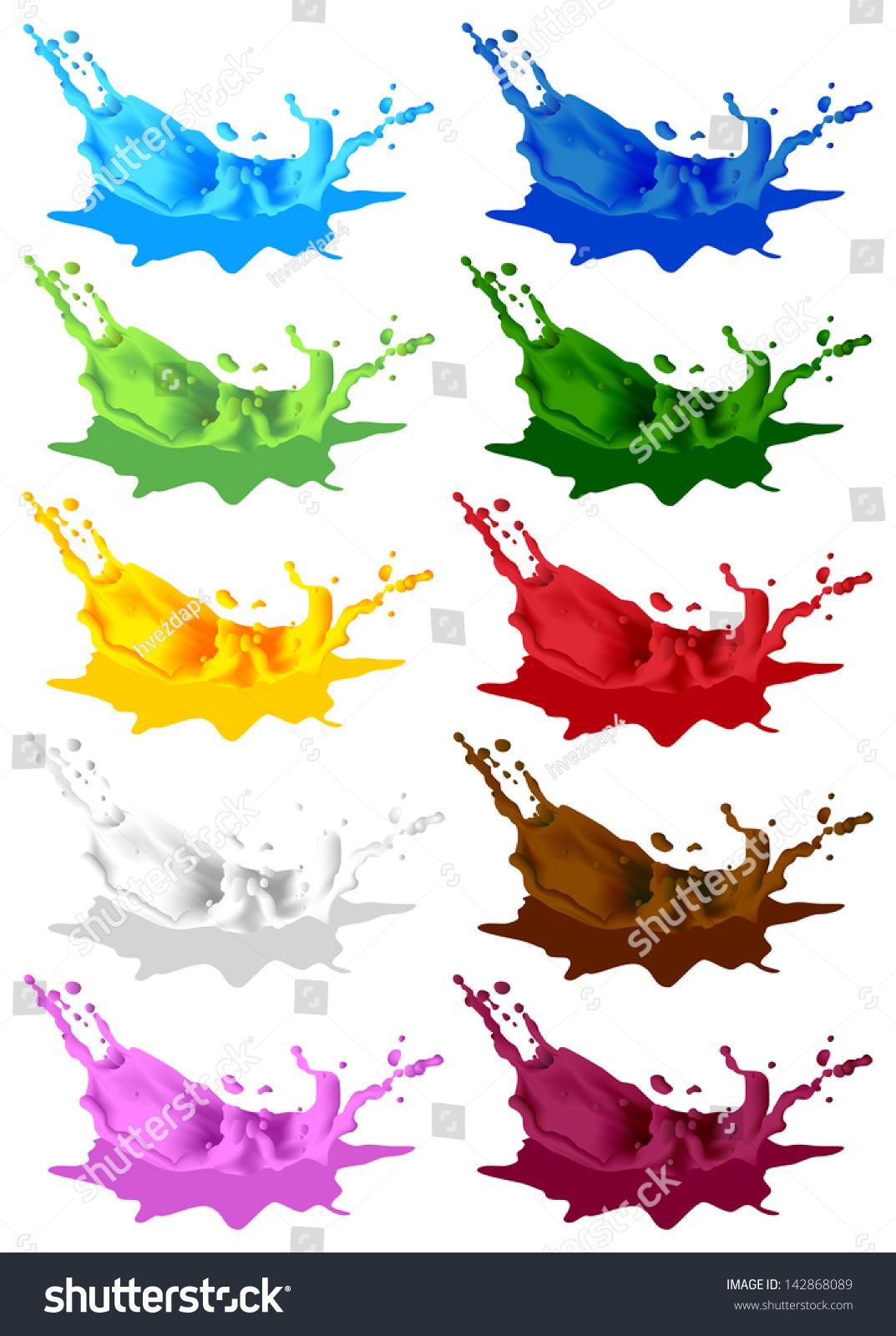 Colored paint splashes  Vector splash … Stock Photo 142868089