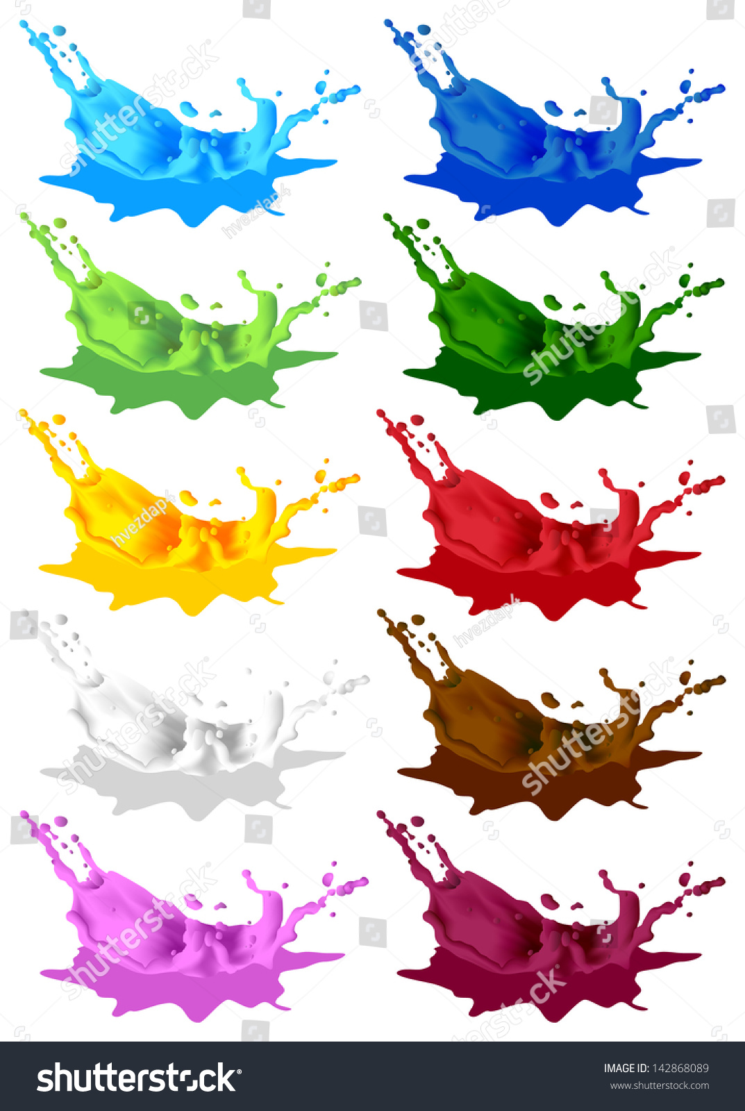 Colored Paint Splashes Vector Splash Splash Stock Vector (Royalty