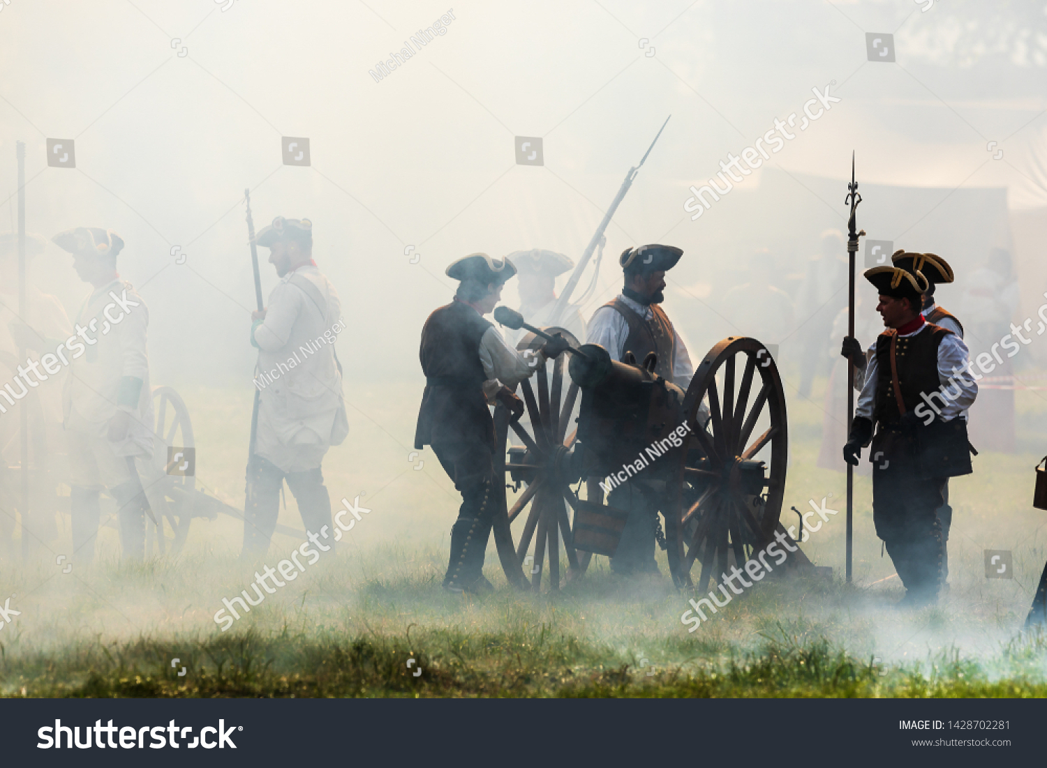KOLÍN, CZECH REPUBLICK - June 16, 2019: The historical appearance of the Battle of Kolin between Prussian and Austrian troops played by amateur historical groups.