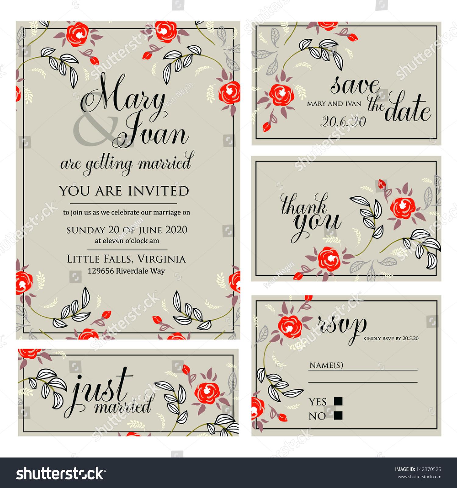 Wedding Invitation Thank You Card Save Stock Vector 142870525 ...