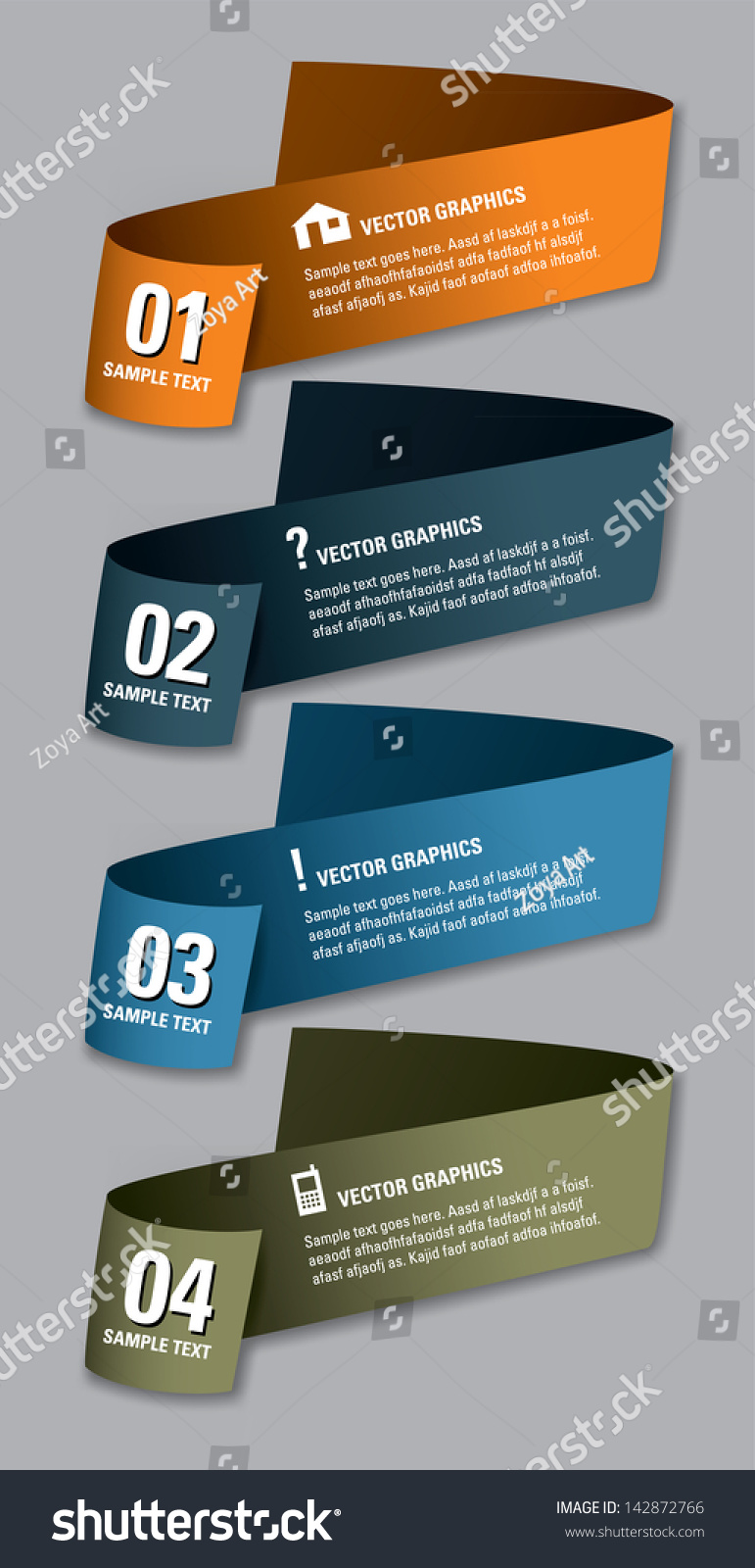 Set Vector Numbered Banners Modern Graphic Stock Vector 142872766 ...