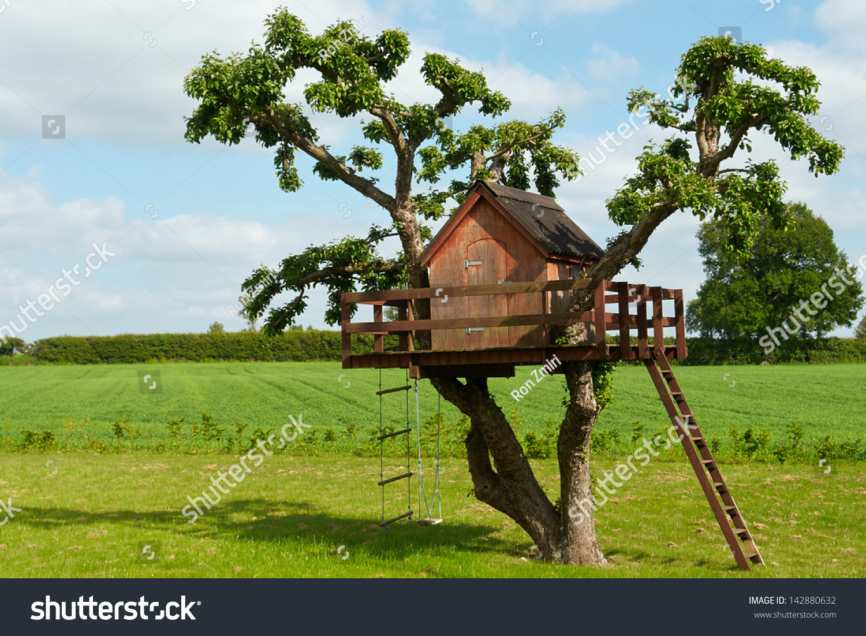 beautiful creative handmade tree house kids stock photo. Black Bedroom Furniture Sets. Home Design Ideas