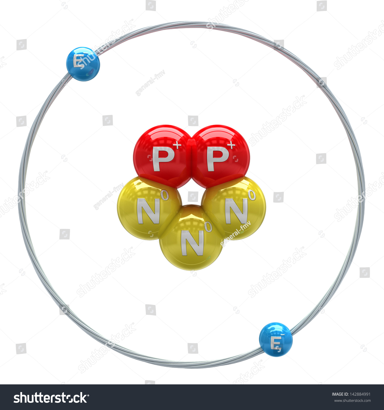 Helium (Unstable Isotope) Atom On White Background Stock ...