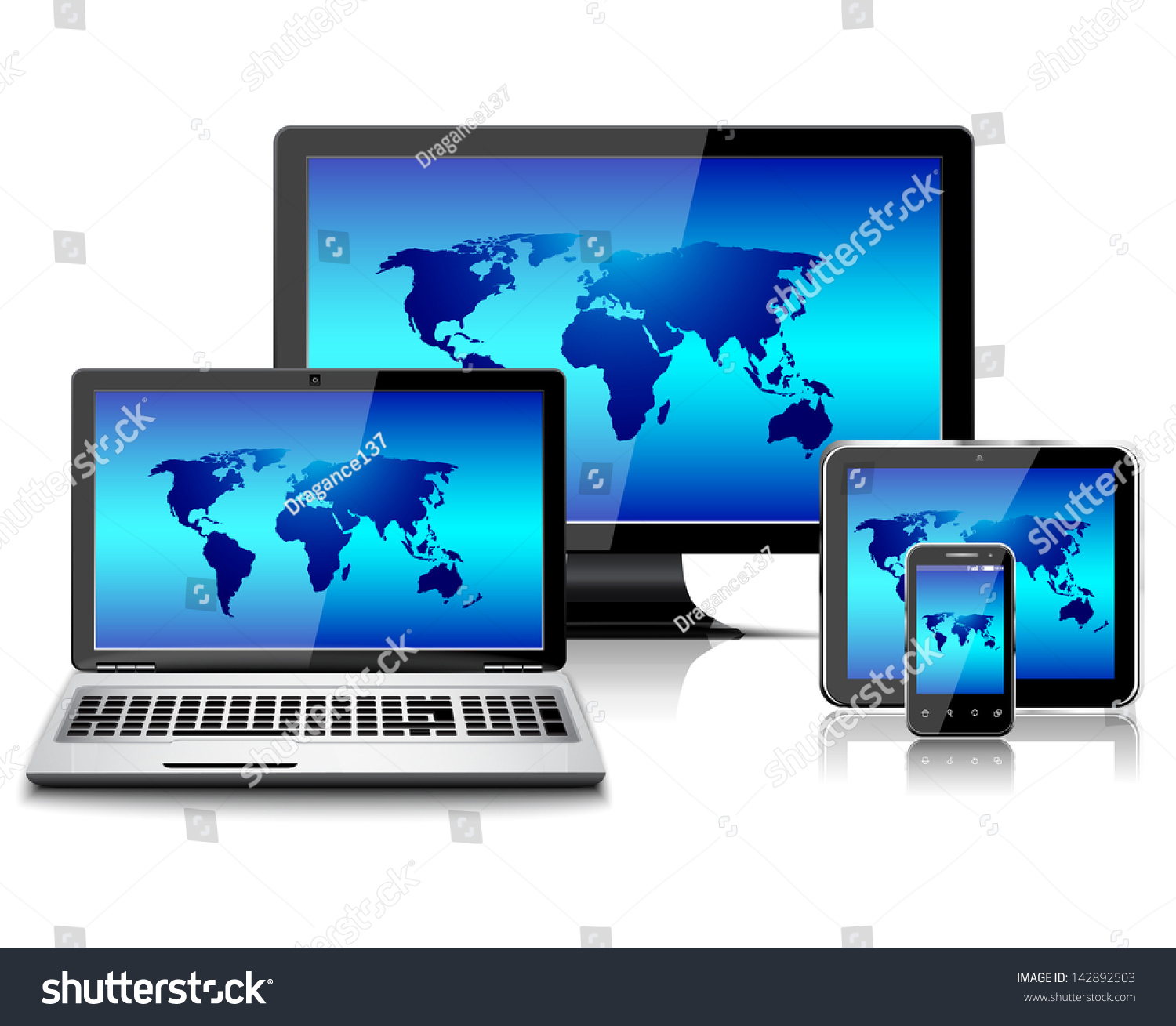 Computer monitor laptop tablet pc mobile vectores en stock 142892503 computer monitor laptop tablet pc and mobile smartphone with world map gumiabroncs Gallery