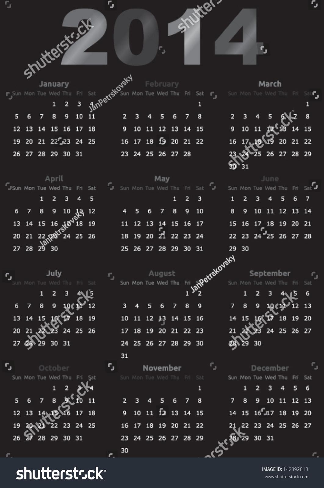 Calendar Typography Year : Calendar year template dark design stock vector