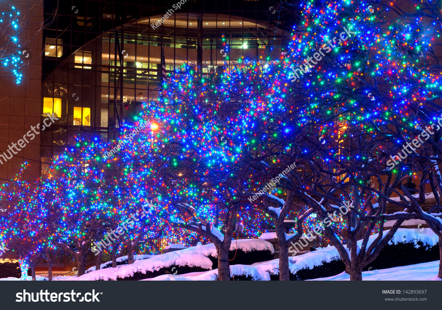 Trees Lighted In Blue Lights For Christmas In Downtown Cleveland Ohio