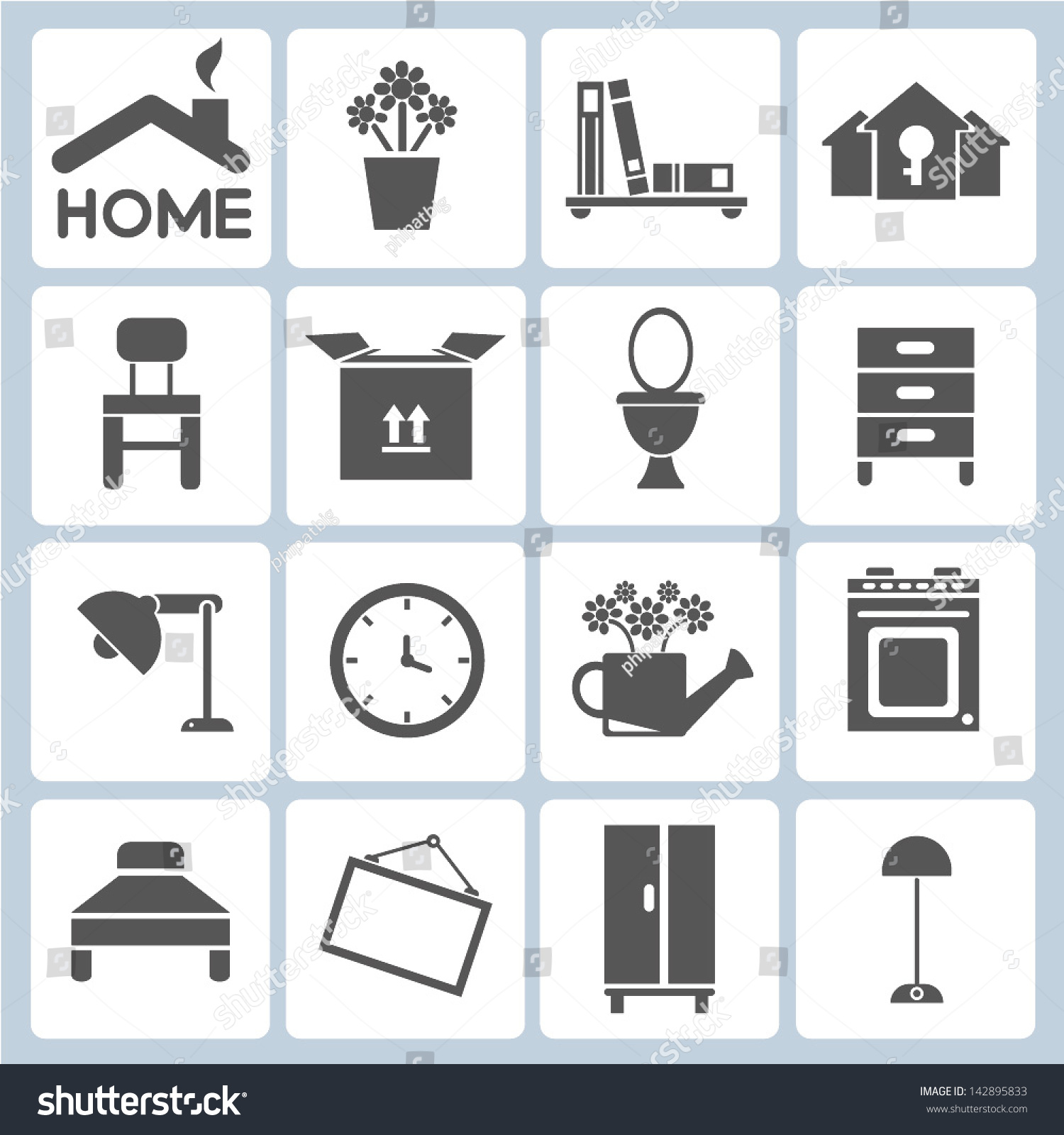 Home icons furniture interior design icon stock vector 142895833 shutterstock Kave home furniture design