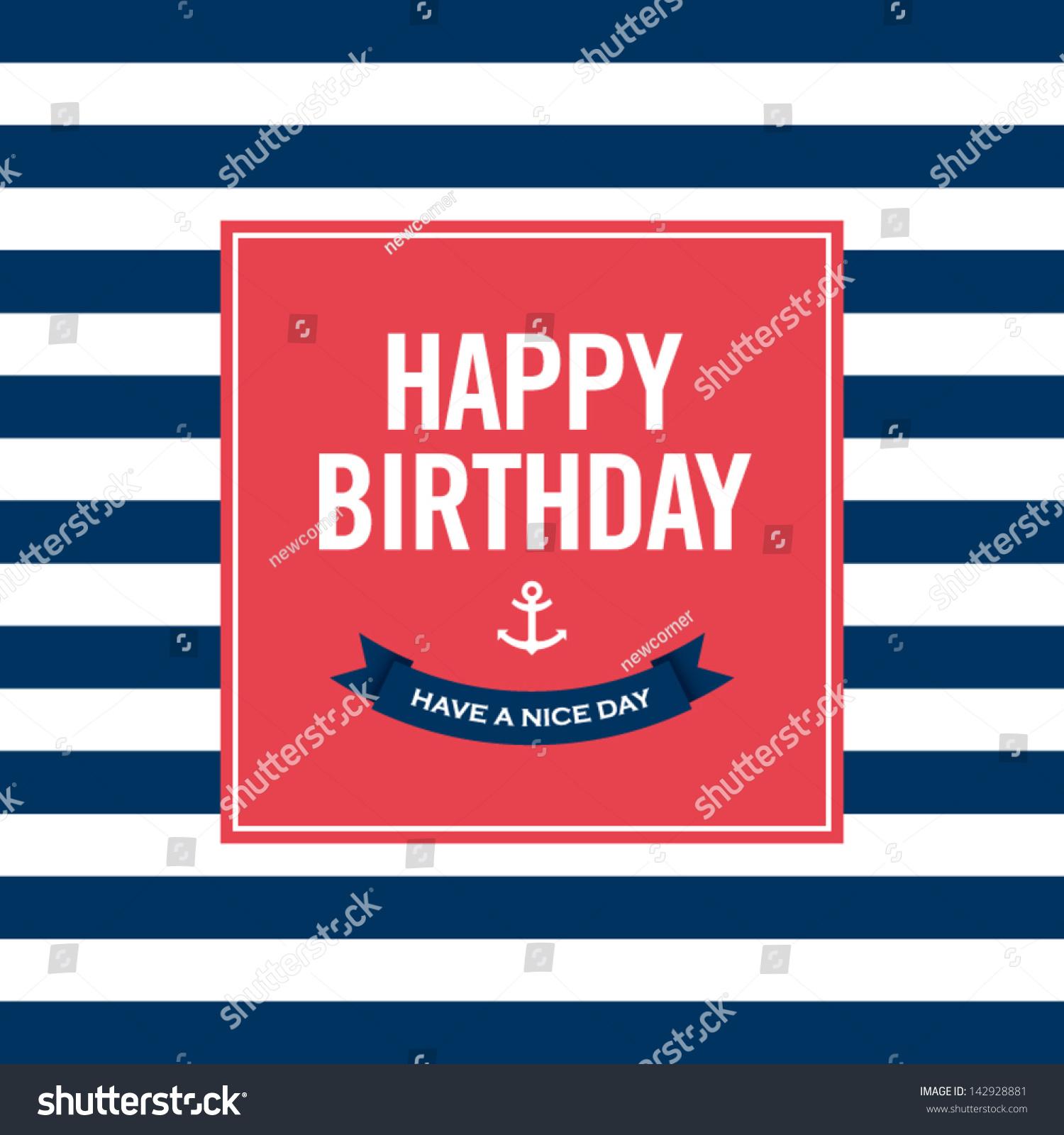 Happy Birthday Invitation Card Sailor Theme Stock Vector