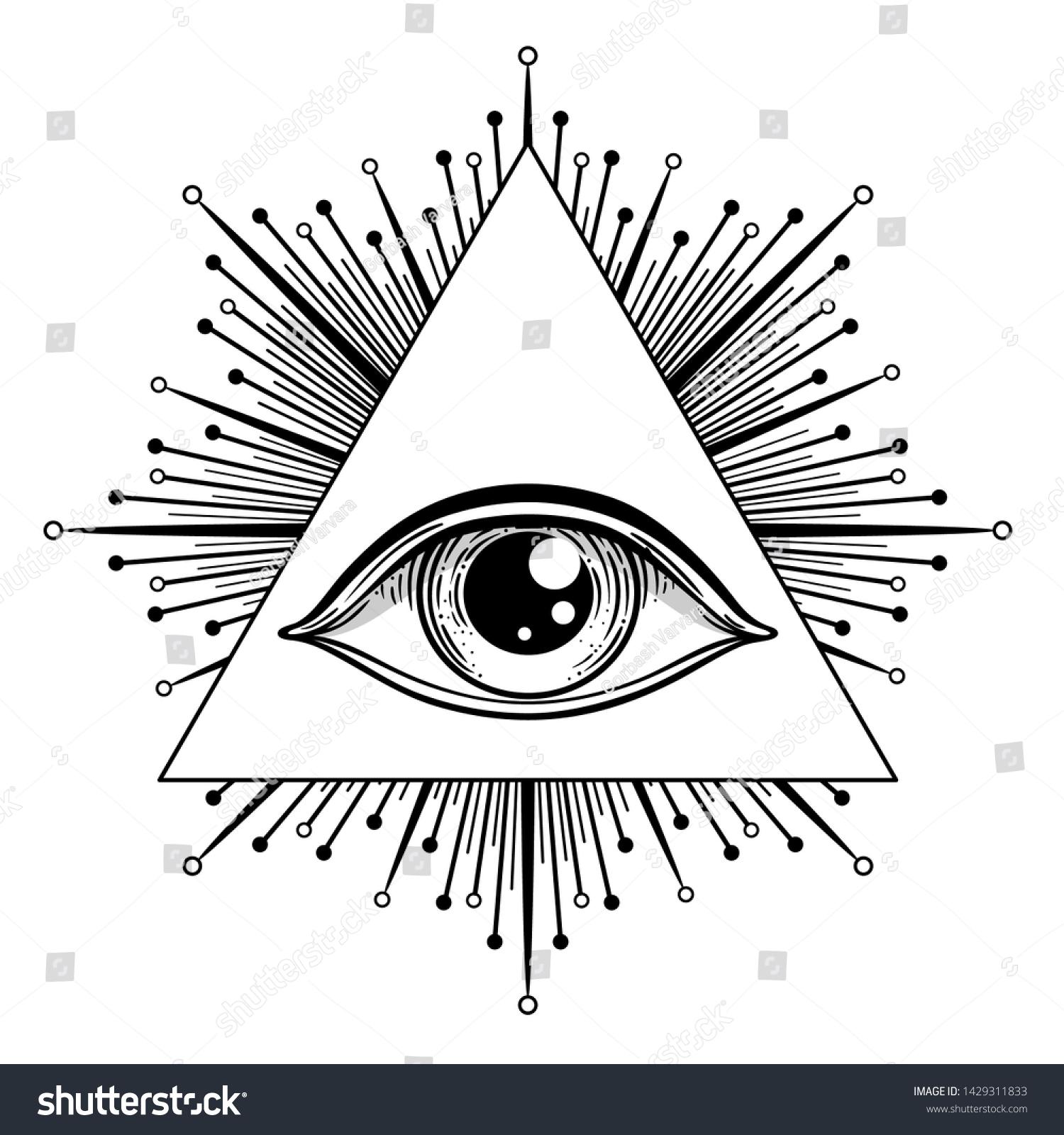 Vetor Stock De Blackwork Tattoo Flash Eye Providence Masonic Livre De Direitos 1429311833