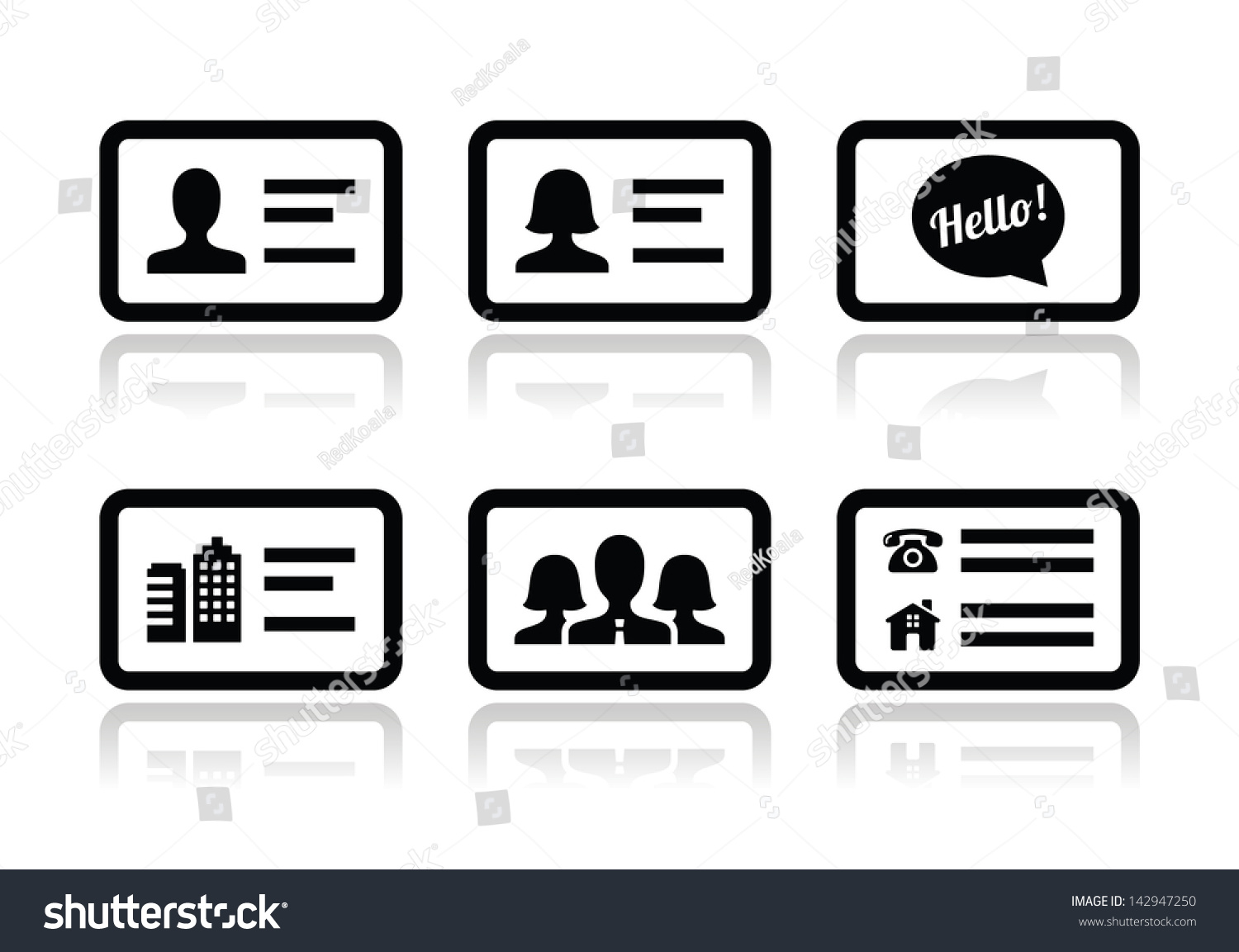 Business card vector icons set stock vector 142947250 shutterstock business card vector icons set magicingreecefo Gallery
