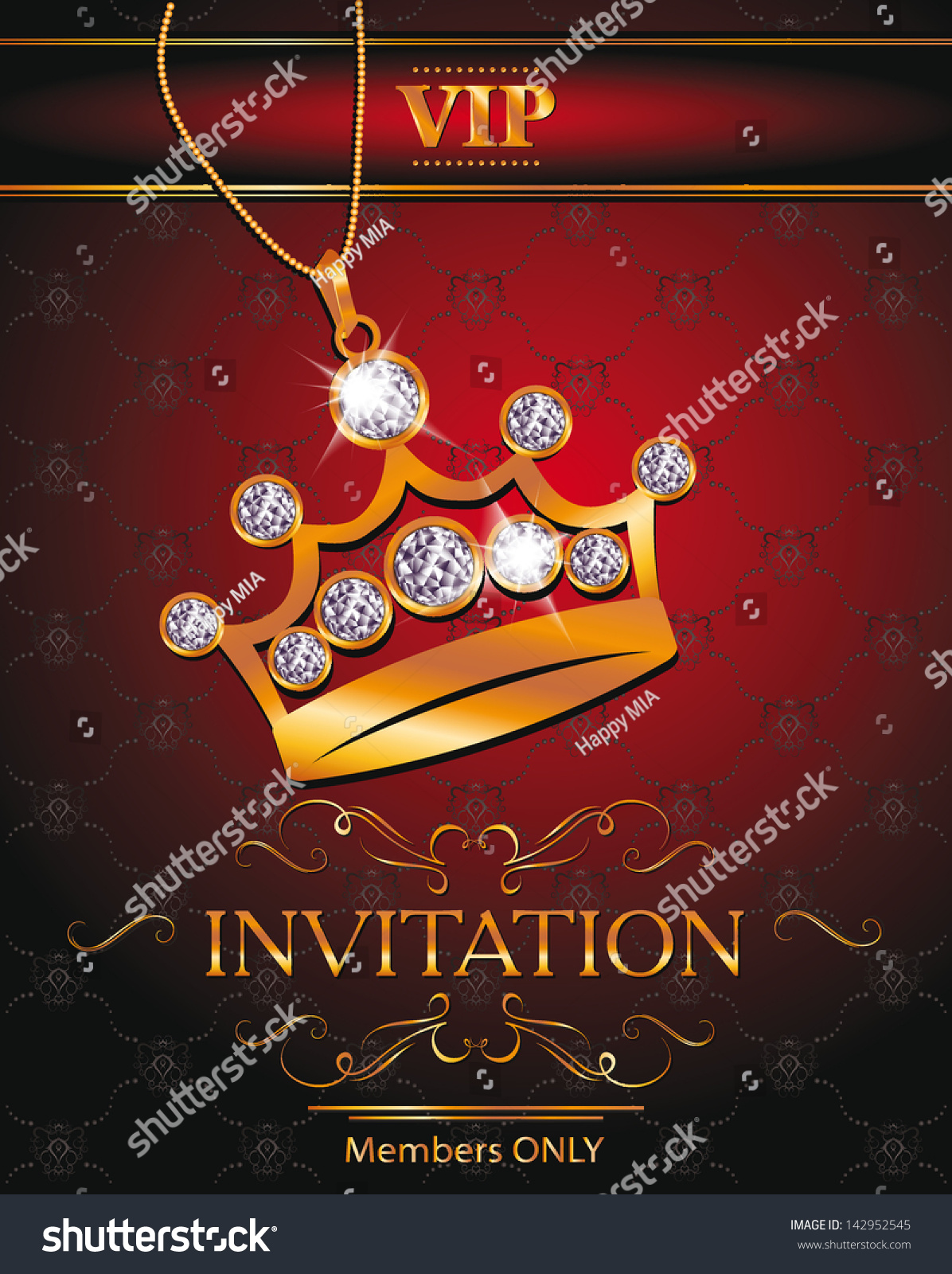 invitation vip card gold crown shaped stock vector 142952545
