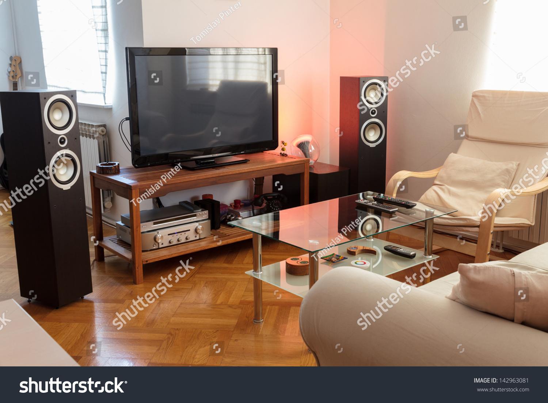 Modern living room ambient light stock photo 142963081 shutterstock for Ambient lighting living room