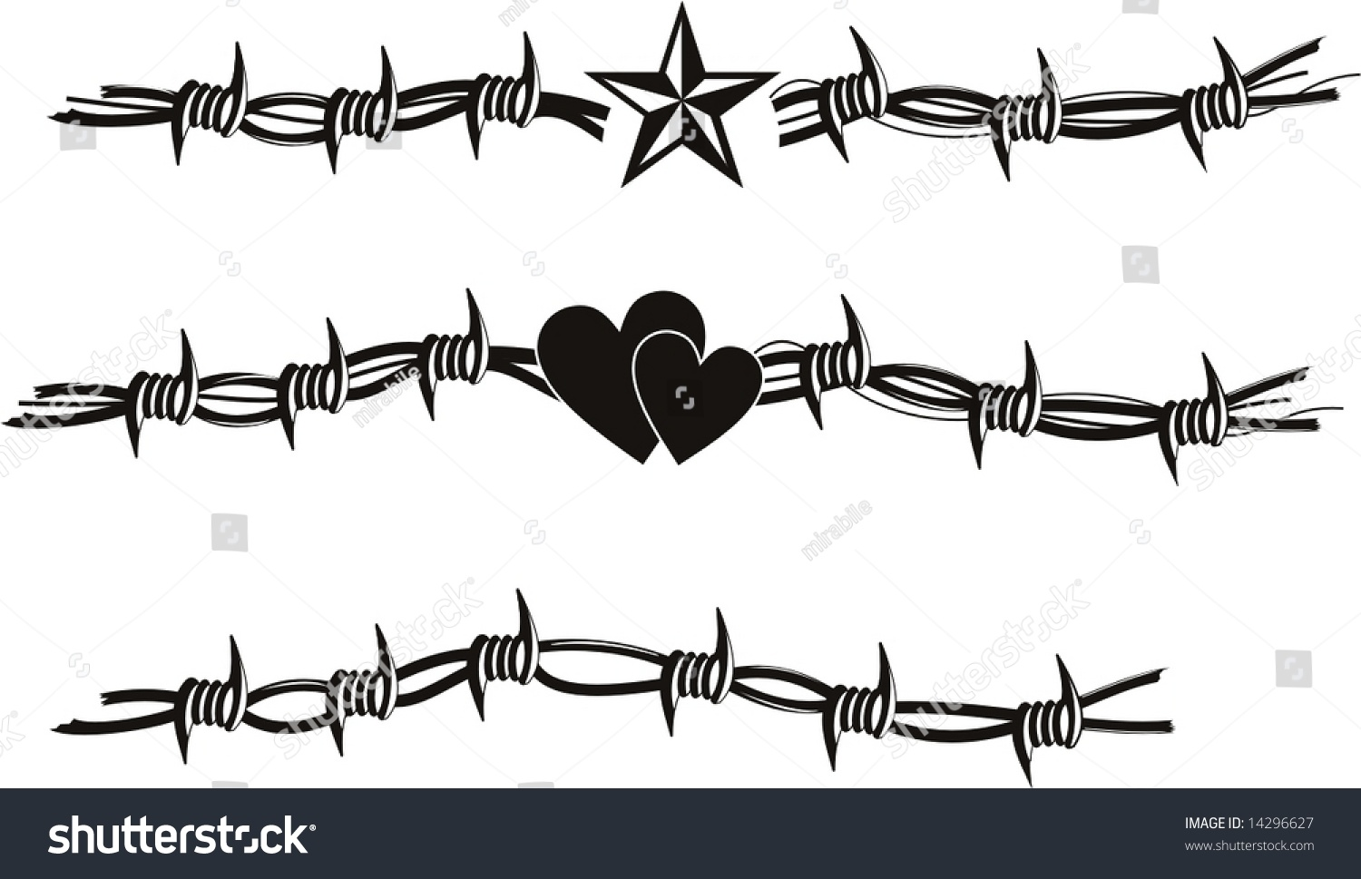 Barbed Wire Vector Tattoo Stock Vector 14296627 - Shutterstock