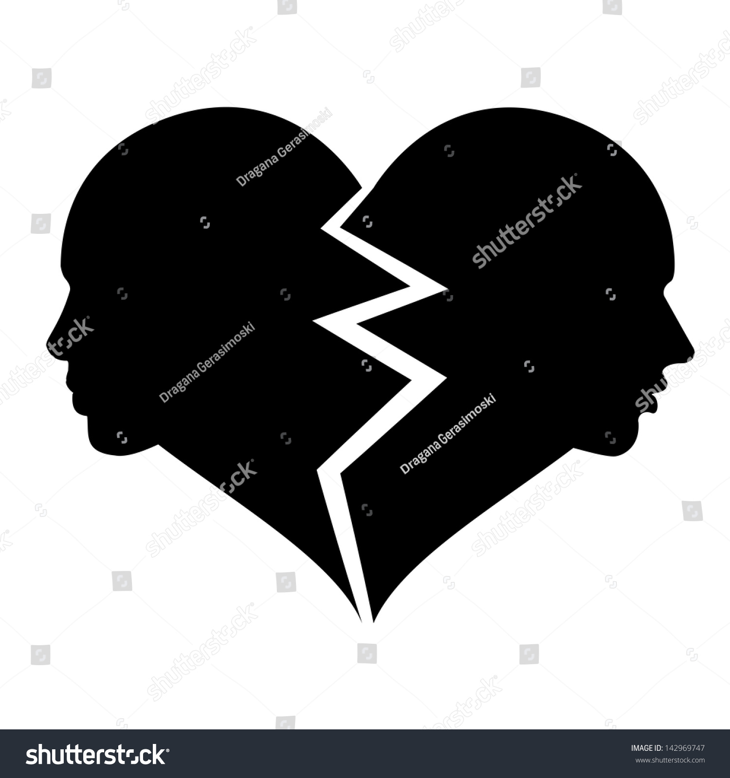 Woman And Man In The Shape Of Broken Heart Love Icon Isolated On