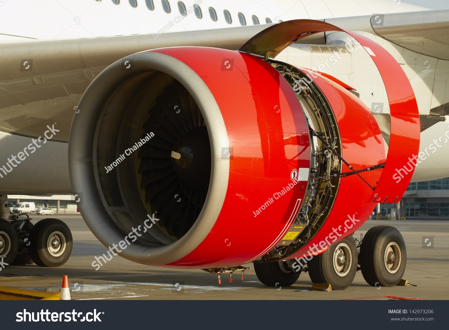 Engine Take Off : Maintenance of the jet engine before take off stock photo