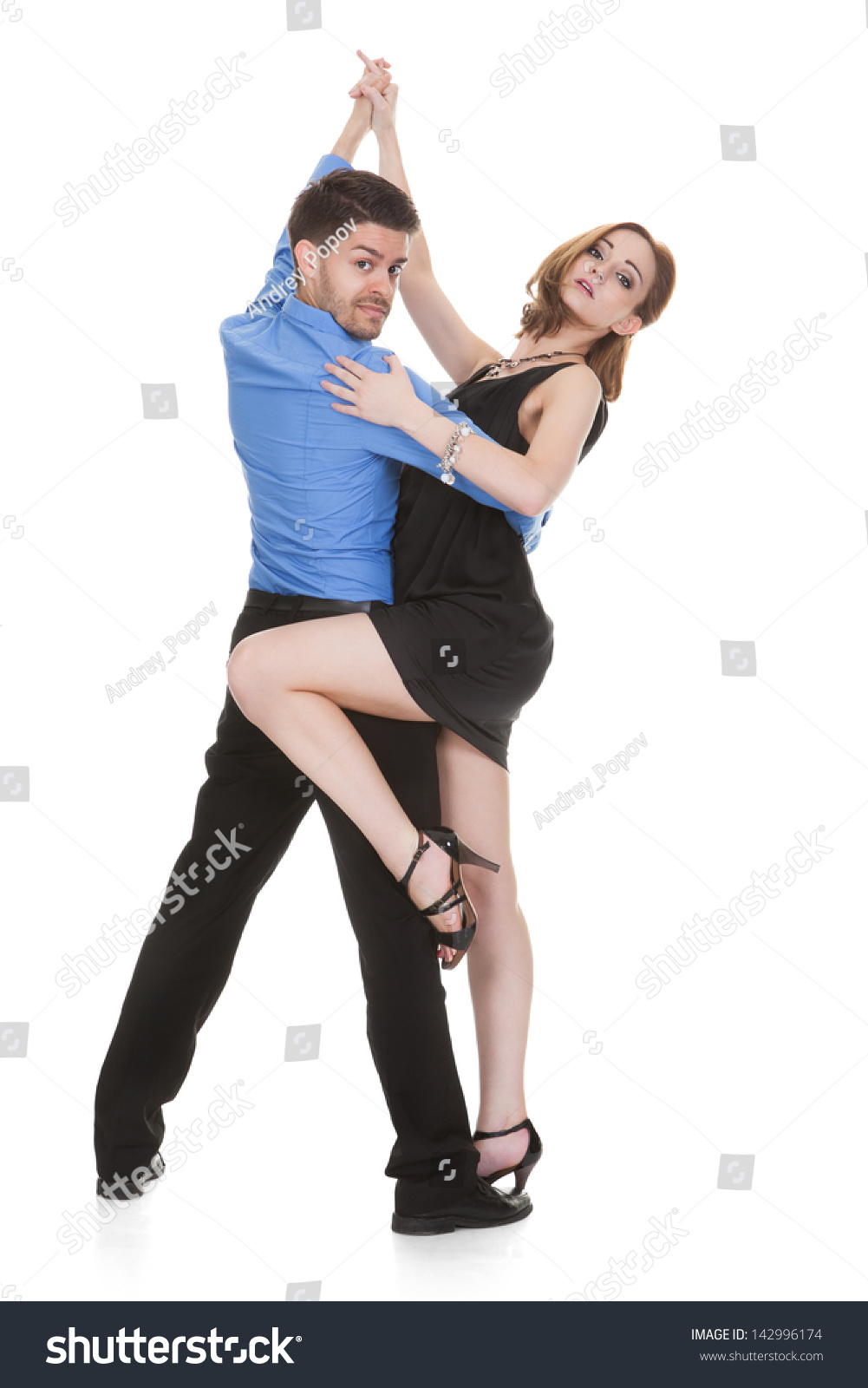Stock Photo Elegant Young Couple Dancing On White Background