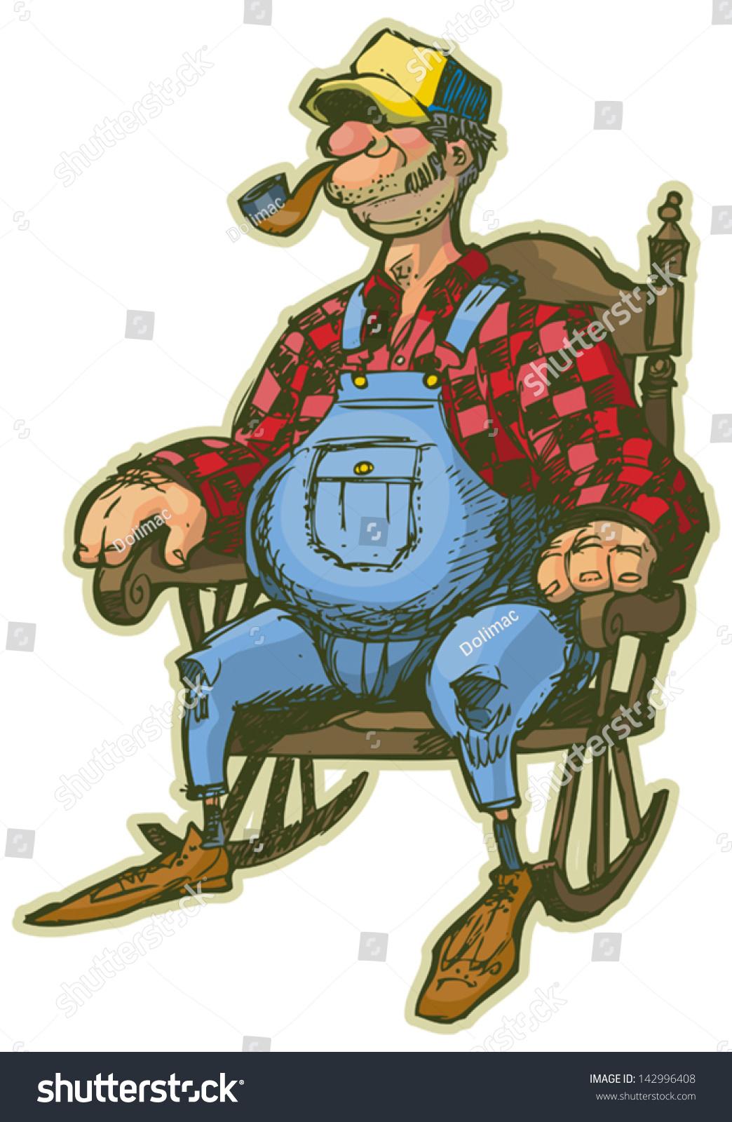Vector Cartoon of an Elderly Man in a Rocking Chair. Looks like a ...