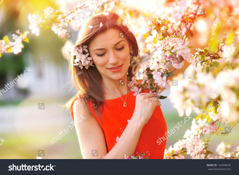 Beautiful spring girl flowers stock photo edit now 142998079 beautiful spring girl with flowers izmirmasajfo