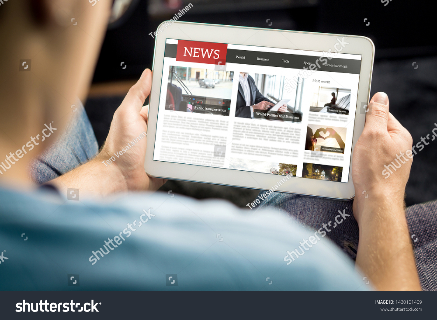 Online news article on tablet screen. Electronic newspaper or magazine. Latest daily press and media. Mockup of digital portal and website. Happy person using web service in the morning. Reading text. #1430101409