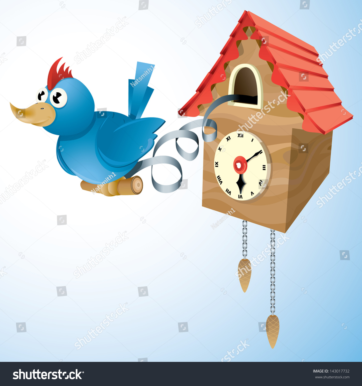 Stock Vector Vector Drawing Of A Cuckoo Clock Cuckoo Clock Easy To Edit Vector Drawing Easy To Edit Layers And on Vintage Blue Bird Clip Art