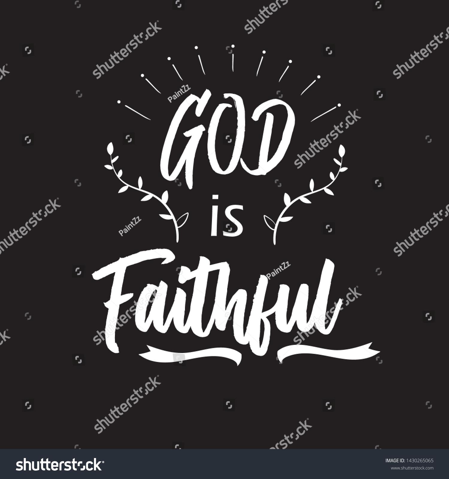 Christian Words God Faithful On Black Stock Vector (Royalty Free