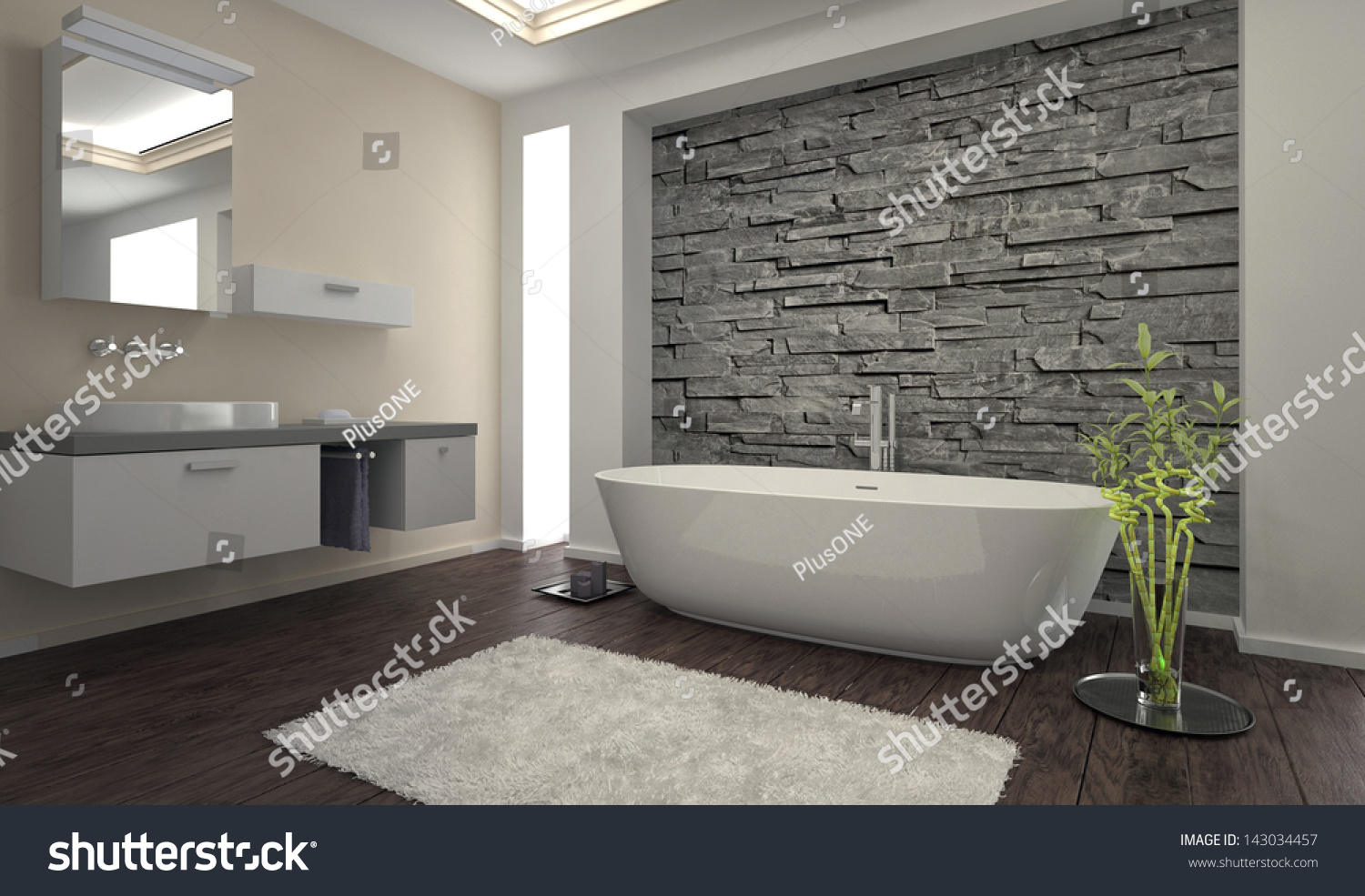 Modern design bathroom with stone wall and bathtub. Modern Design Bathroom Stone Wall Bathtub Stock Photo 143034457