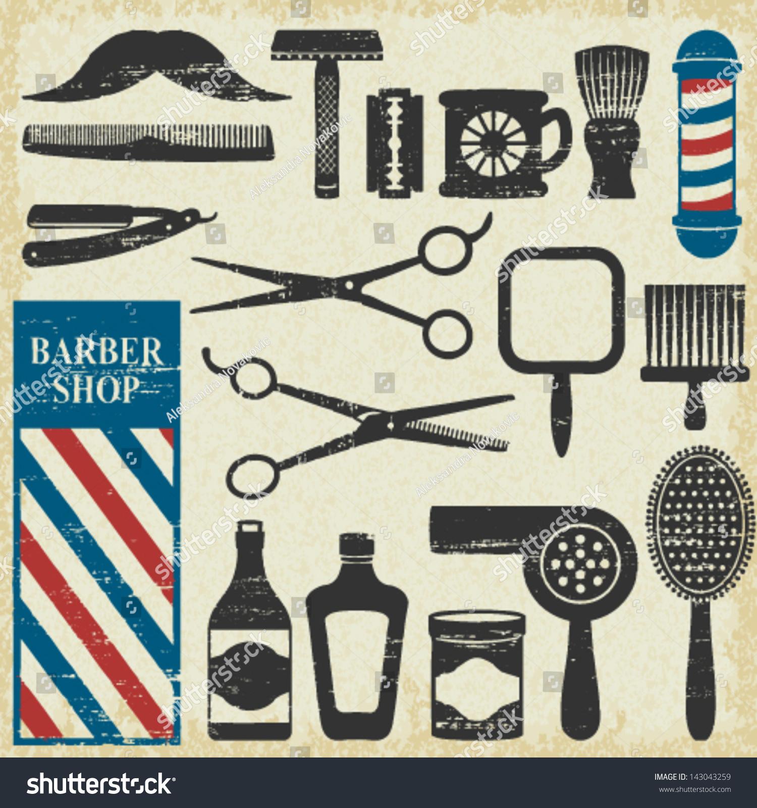 Antique barber shop signs - Vintage Barber Shop Tools Silhouette Icons Set 1 143043259