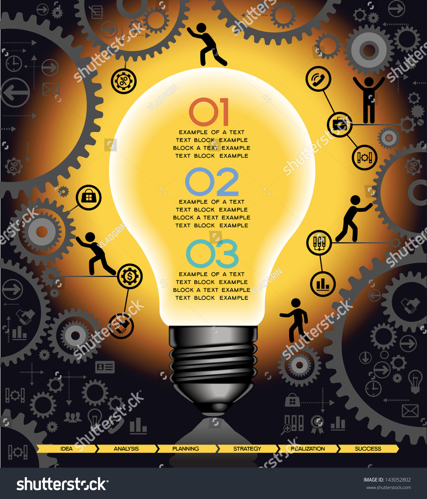 gears and people icons form the shape of light bulbs concept of effective teamwork preview save to a lightbox