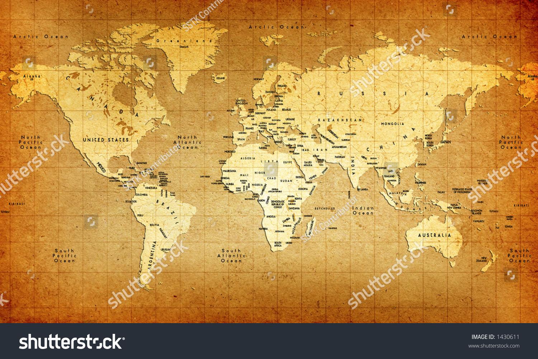 Detailed old world map stock illustration 1430611 shutterstock detailed old world map gumiabroncs Choice Image