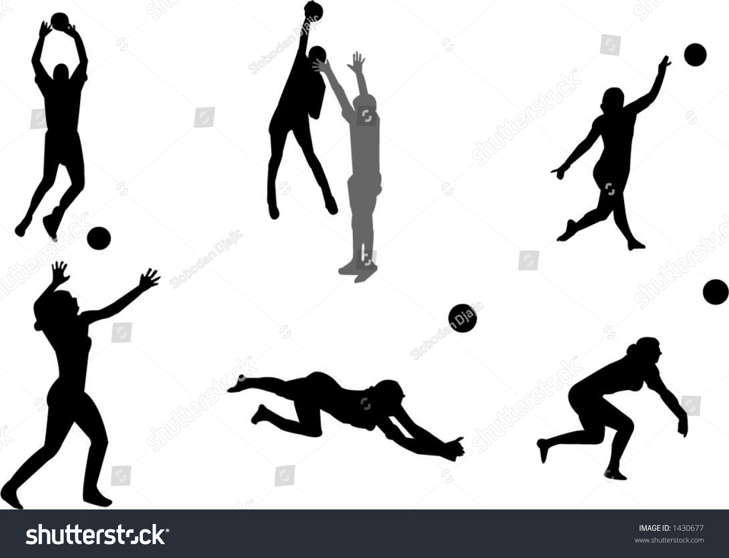 Volleyball Silhouettes Stock Vector Illustration 1430677
