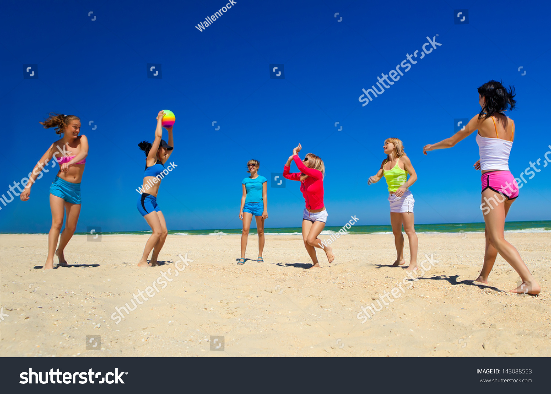 Group Young Joyful Girls Playing Volleyball Stock Photo