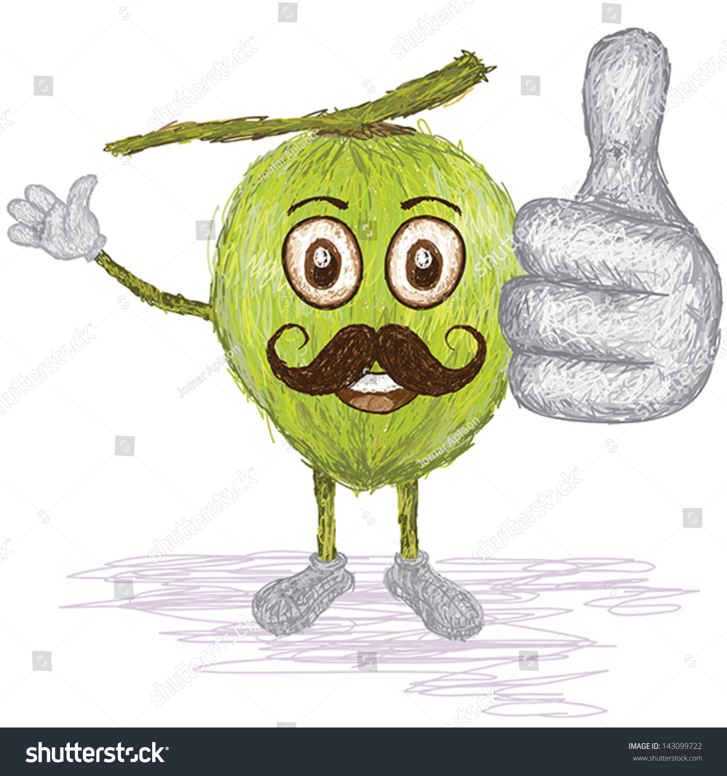 Unique Style Illustration Of Funny Happy Cartoon Green Coconut Fruit With Mustache Waving Giving Thumbs Up Gesture