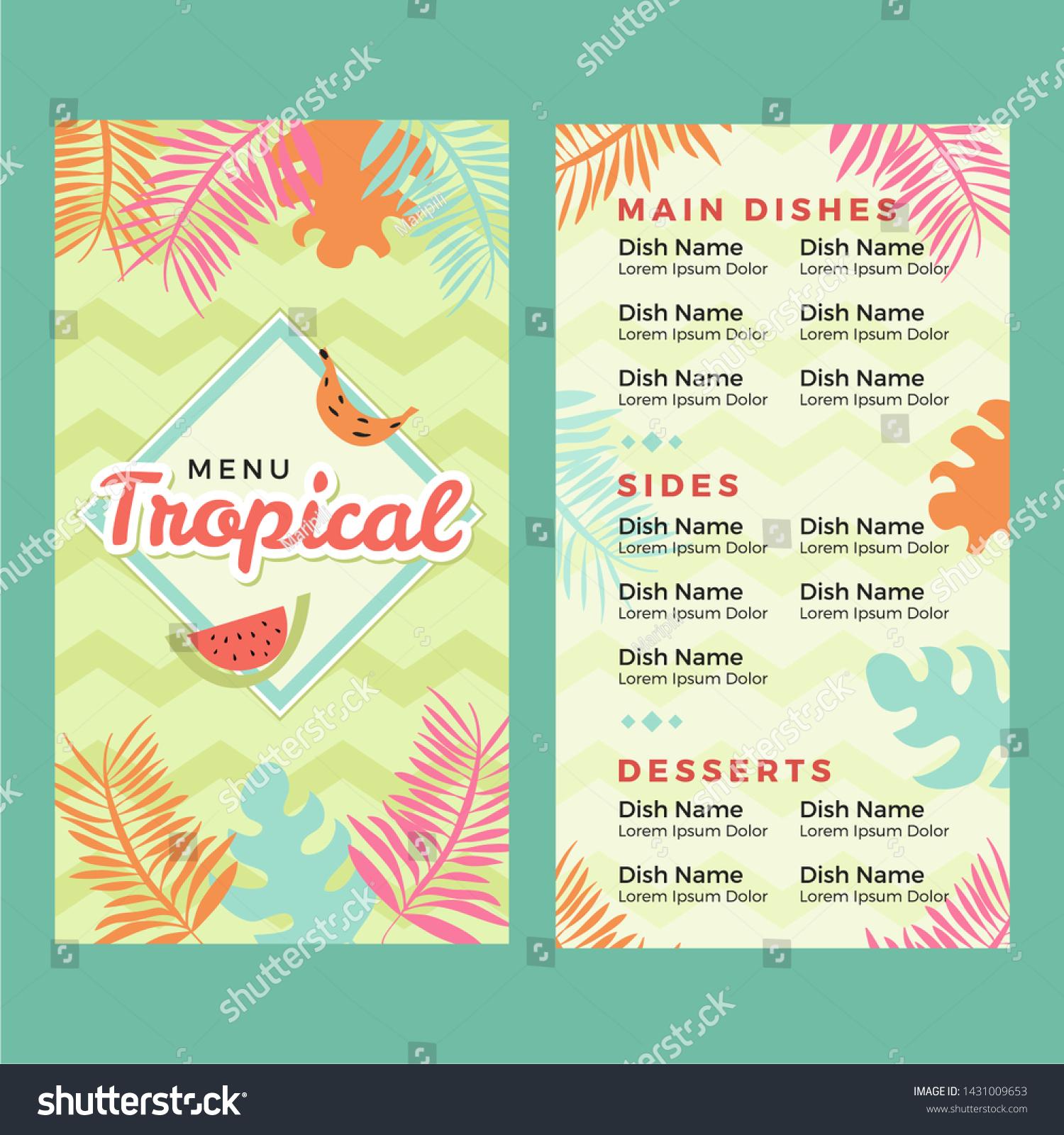 Vector De Stock Libre De Regalias Sobre Menu Restaurant Tropical Design1431009653