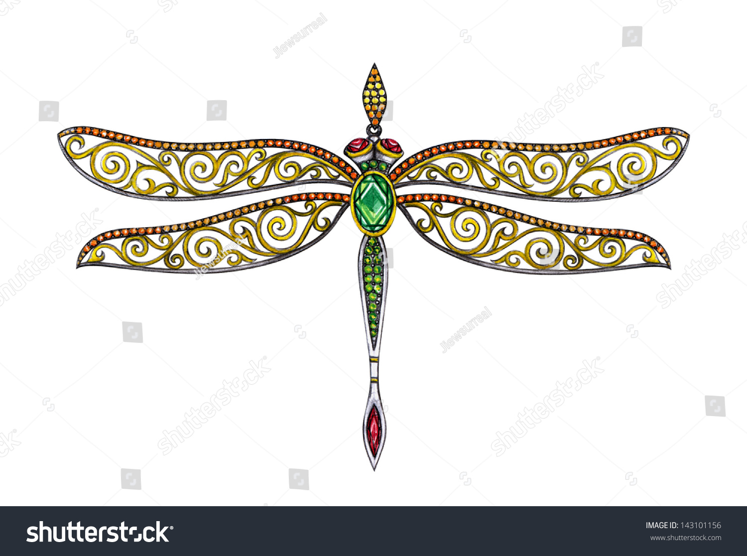 Jewelry Dragonfly Vintagehand Drawing Painting Pendant