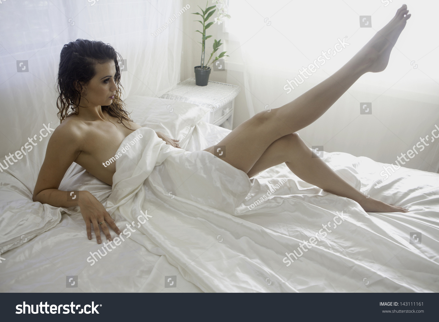 Amo Nudes beautiful nude girl on bed white stock photo (edit now