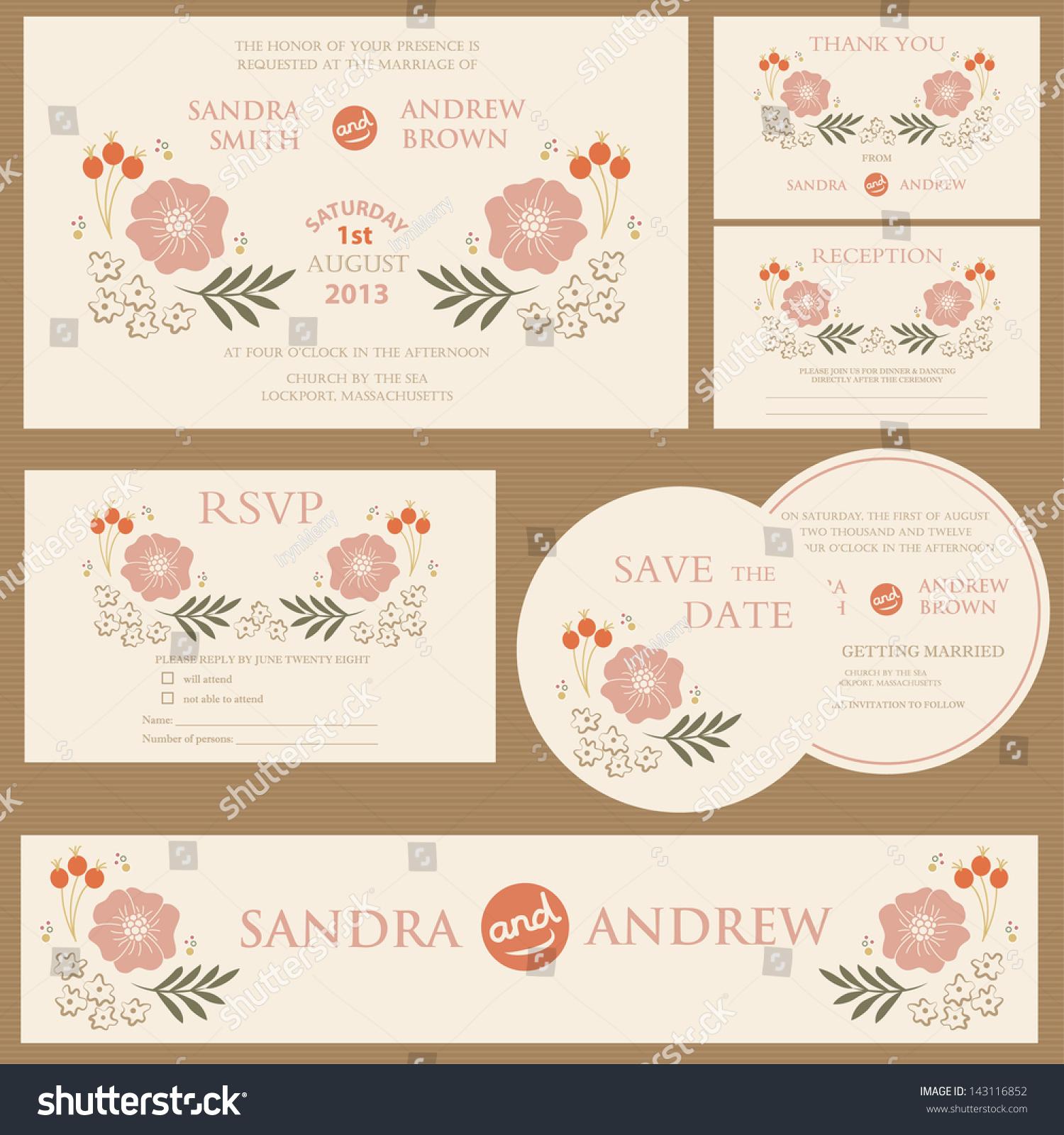Beautiful Vintage Wedding Invitation Cards.