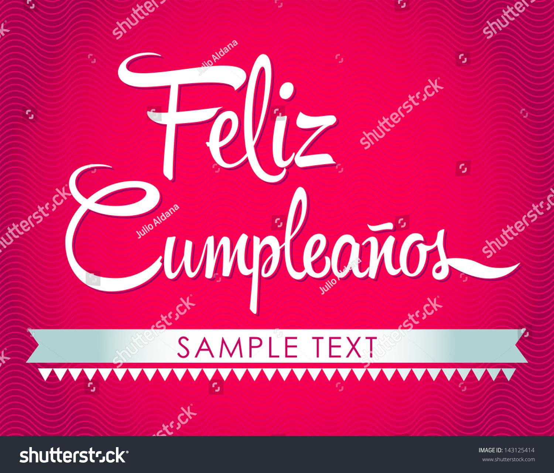 Feliz Cumpleanos Happy Birthday Spanish Text Stock Vector ...