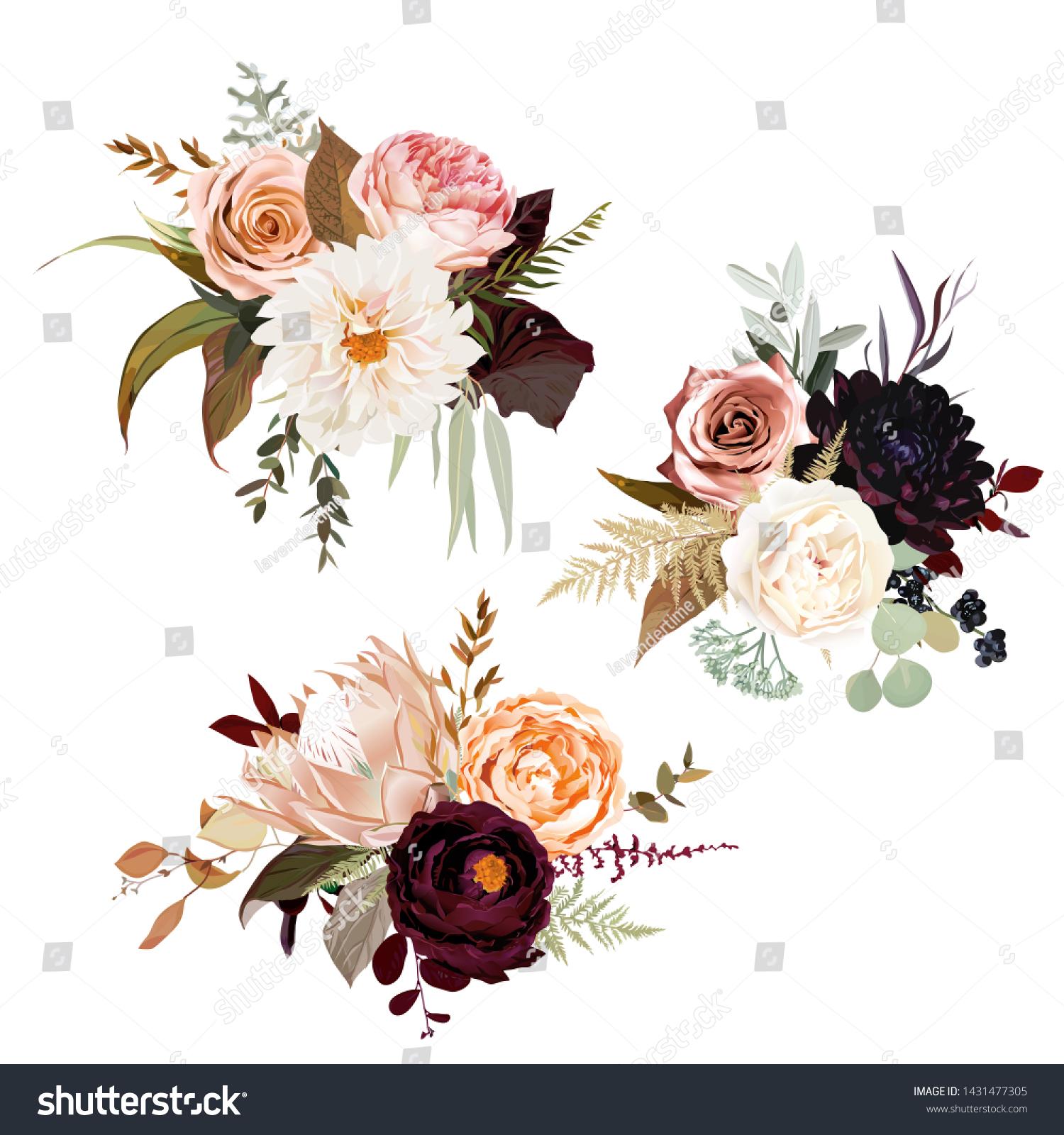 Vetor Stock De Moody Boho Chic Wedding Vector Bouquets Livre De Direitos 1431477305