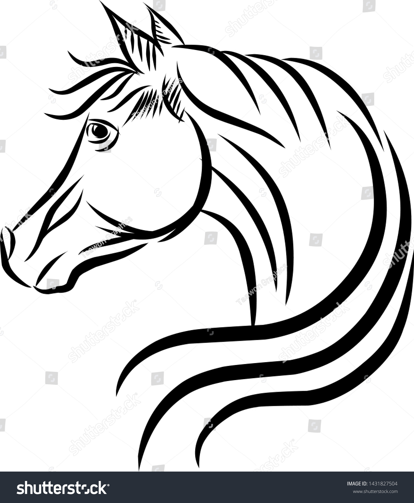 Line Drawing Horse Head Vector Icon Stock Vector Royalty Free 1431827504