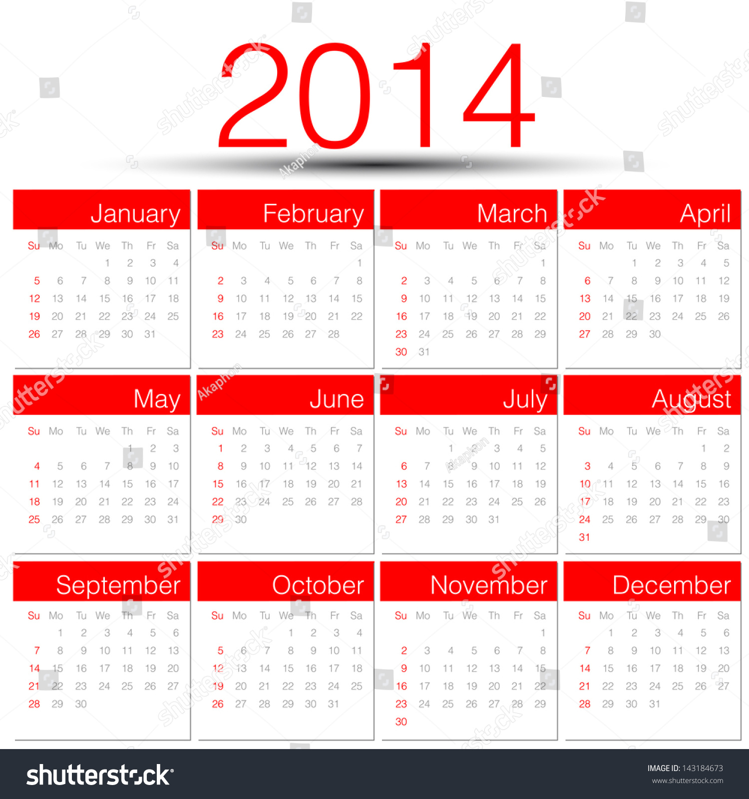 Calendar Red : Simple year vector calendar red stock
