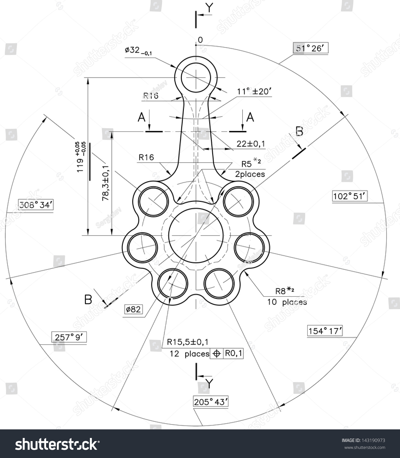 Design Technical Drawing Nonexistent Pistonrod Clipping