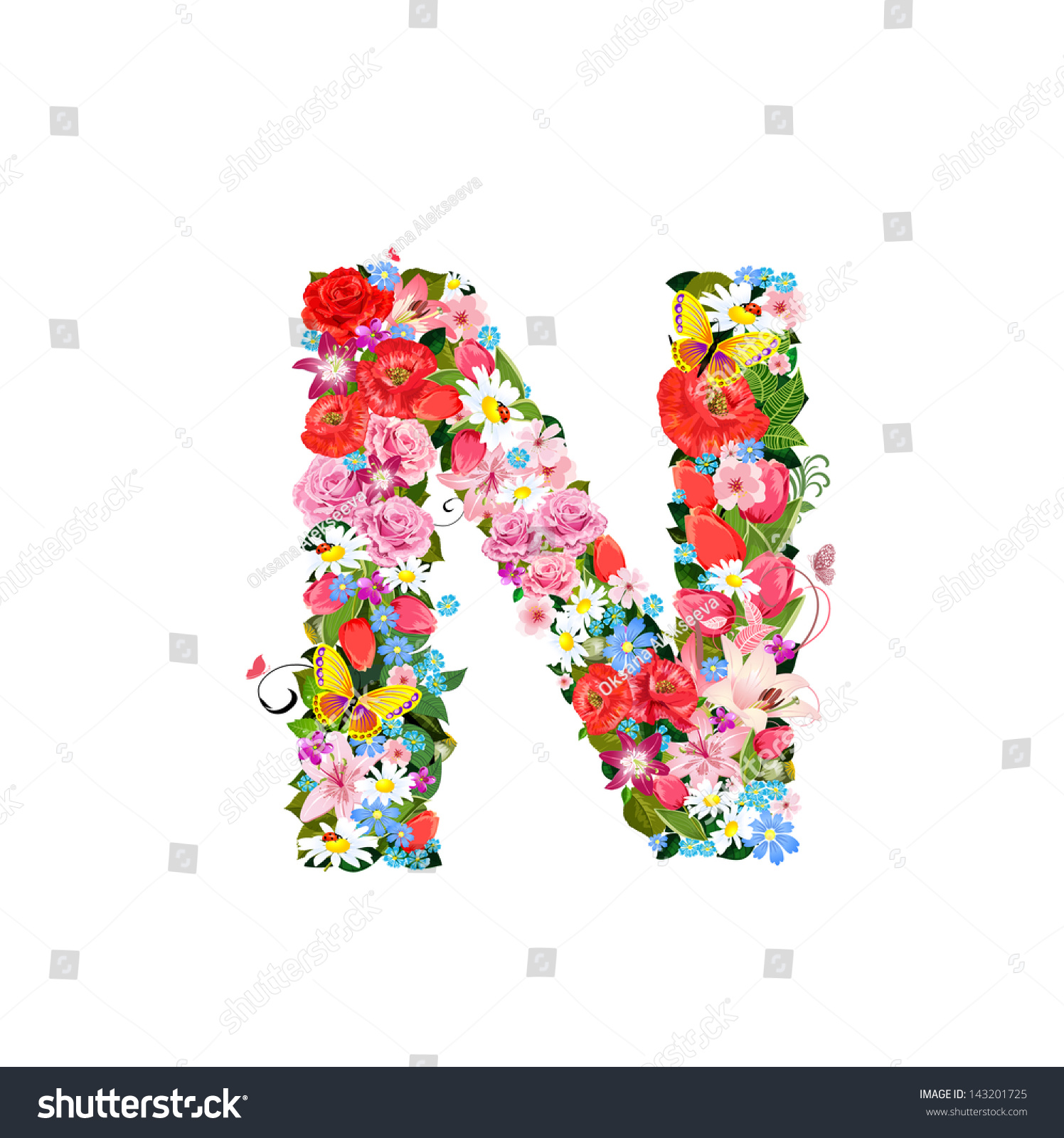 Romantic Letter Beautiful Flowers N Stock Vector Royalty Free