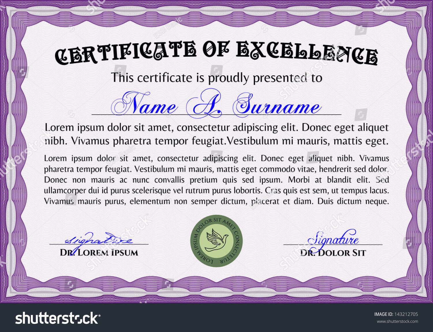 Horizontal Certificate Excellence Template Vector 143212705 – Sample Certificate of Excellence