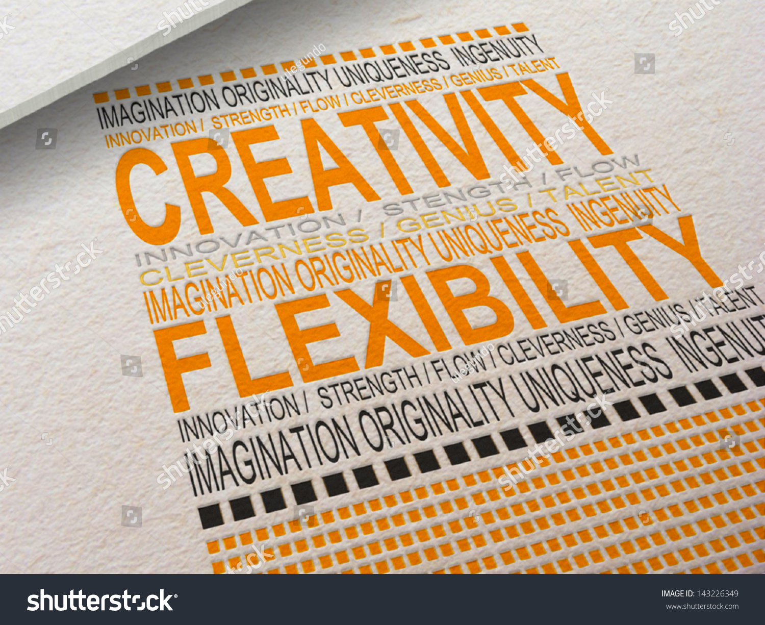 The Word Creativity Letter Pressed Into Paper Withociated Words Around It