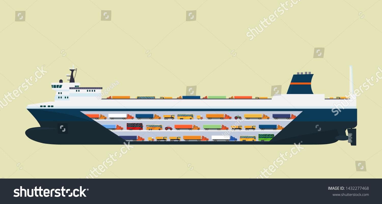 ロロ運送船。ベクターフラットスタイルのイラスト。」のベクター画像 ...