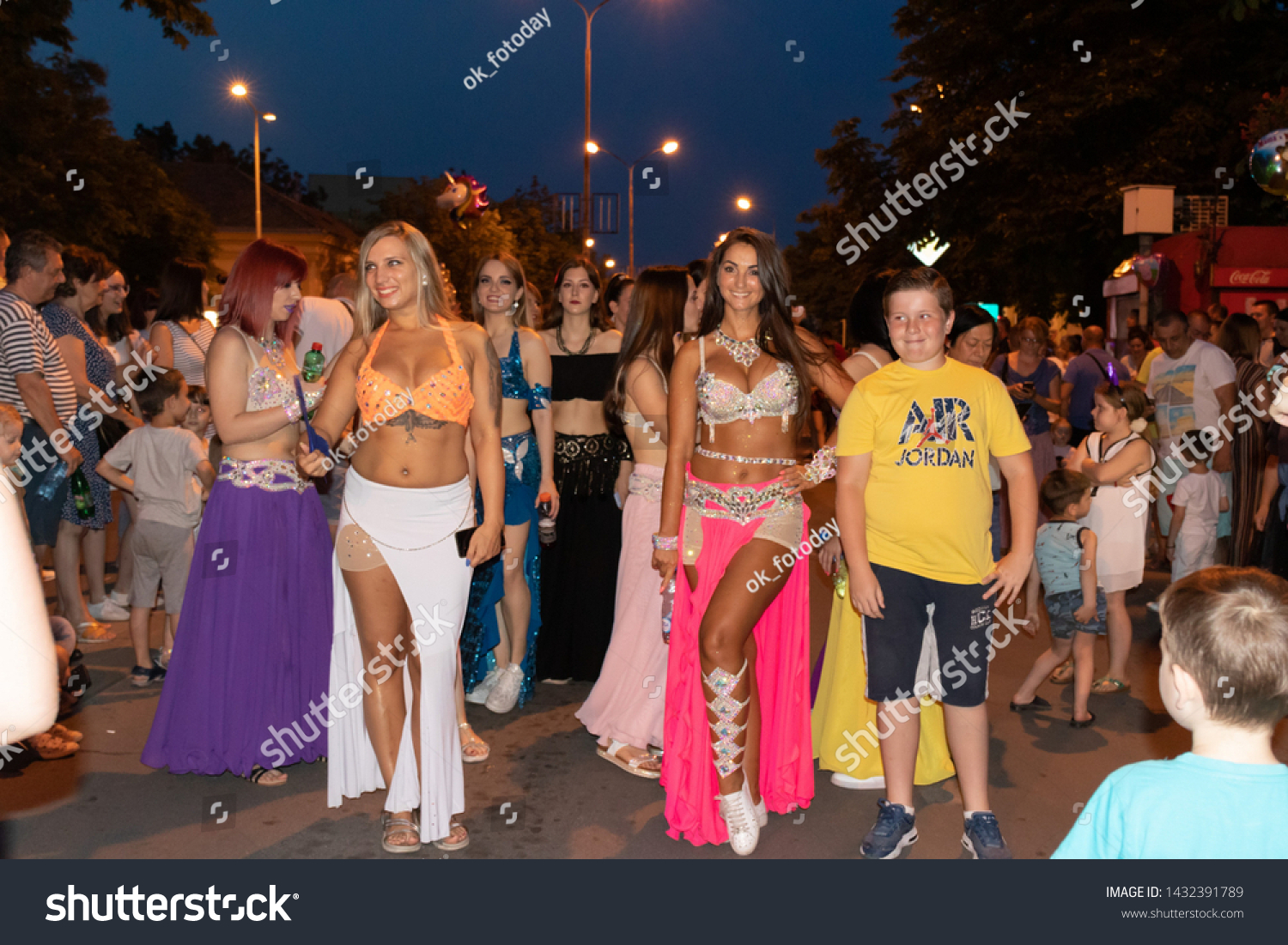 Belly dancers. Annual summer carnival. Pancevo, Serbia, June 22, 2019
