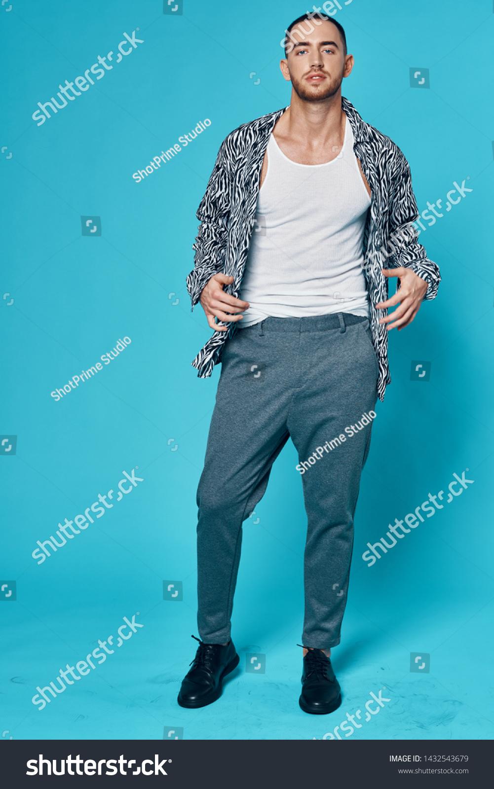 Fashionable Men Tshirt Shirt Unbuttoned Gray Stock Photo Edit Now 1432543679
